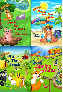 "Picture of the ""Young Series"" books, including ""Scrub The Hands,"" ""Fun in the Sun,"" ""Stash the Trash"" and ""Spring Mess."""