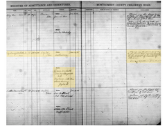 """Montgomery County Children's Home """"Register of Admittance and Indentures"""" Log"""