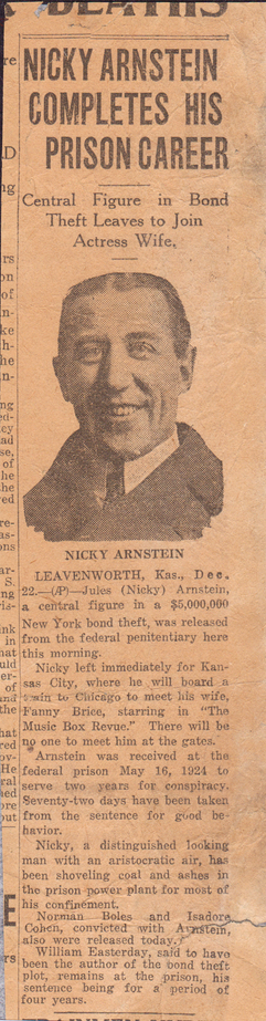 Nicky Arnstein Completes his Prison Career