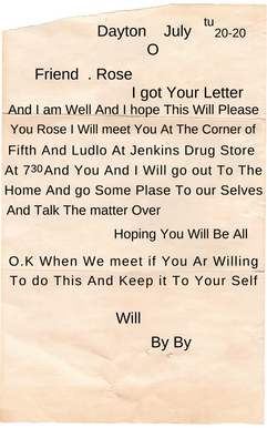 Will's Letter to Rose Text