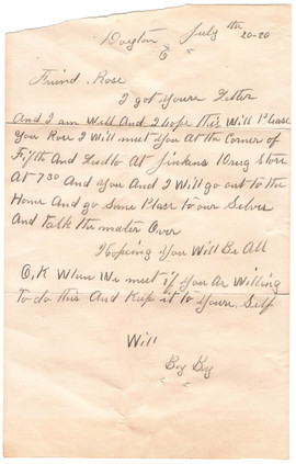 Will's Letter to Rose