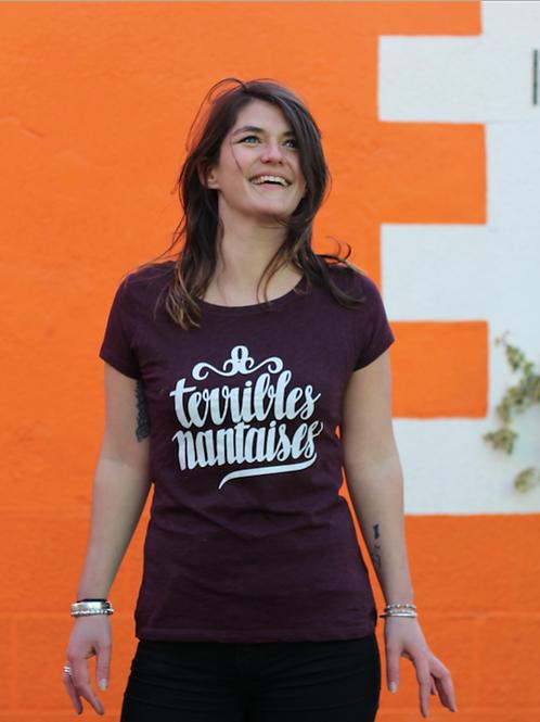 Tee-shirt Femme Bio, Logo Terribles Nantaises bordeaux chiné