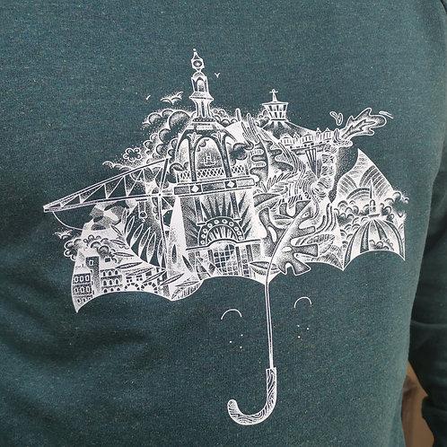 Sweat Parapluie Feebles Vert Chiné
