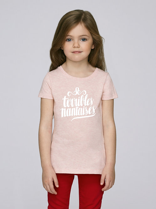 Tee-shirt Fille Bio, Logo Terribles Nantaises rose chiné