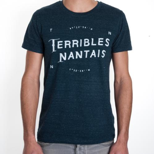 Tee-shirt Homme Bio, Logo Terrible Nantais bleu chiné