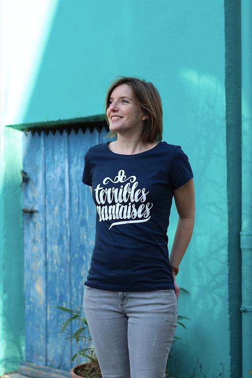 Tee-shirt Femme Bio, Logo Terribles Nantaises bleu marine