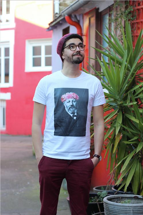 Tee-shirt Homme Bio, Jules Verne couronne de fleurs