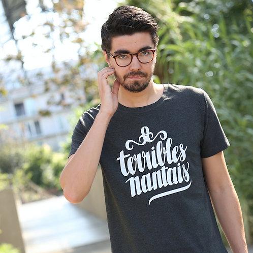 Tee-shirt Homme Bio, Logo Terrible Nantais Gris anthracite chiné