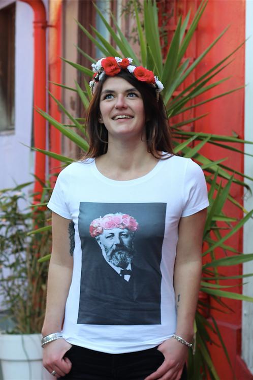 Tee-shirt Femme Bio, Jules Verne couronne de fleurs