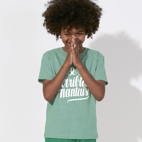 Tee-shirt Garçon Bio, Logo Terribles Nantais vert chiné