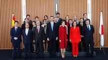 Recepcion privada de S.S.M.M. los Reyes en su visita oficial a Japon.