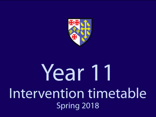 Year 11 Intervention Timetable - Spring 2018