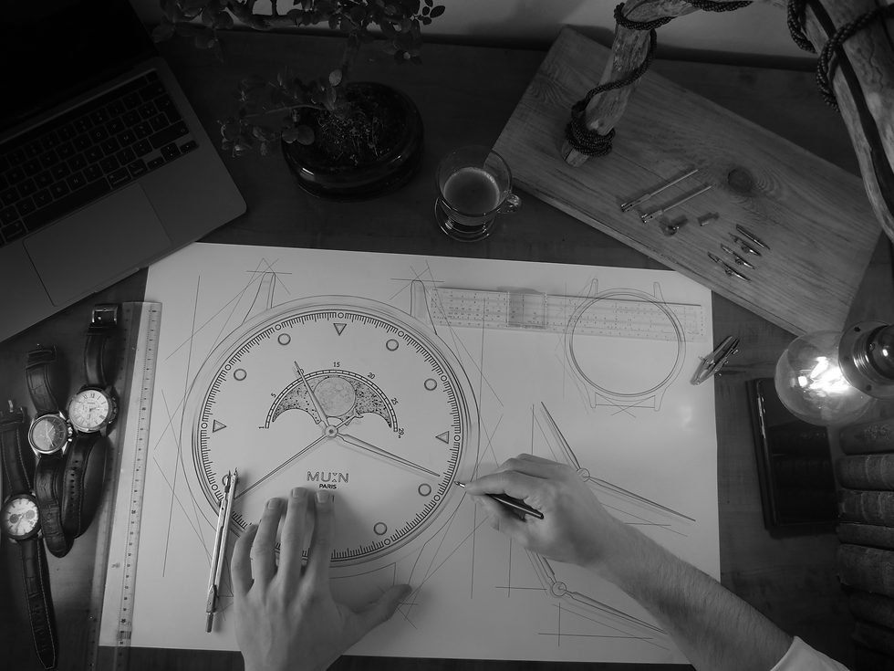 Design moonphase watch drawing