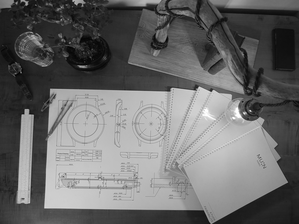 Technical moonphase watch drawing