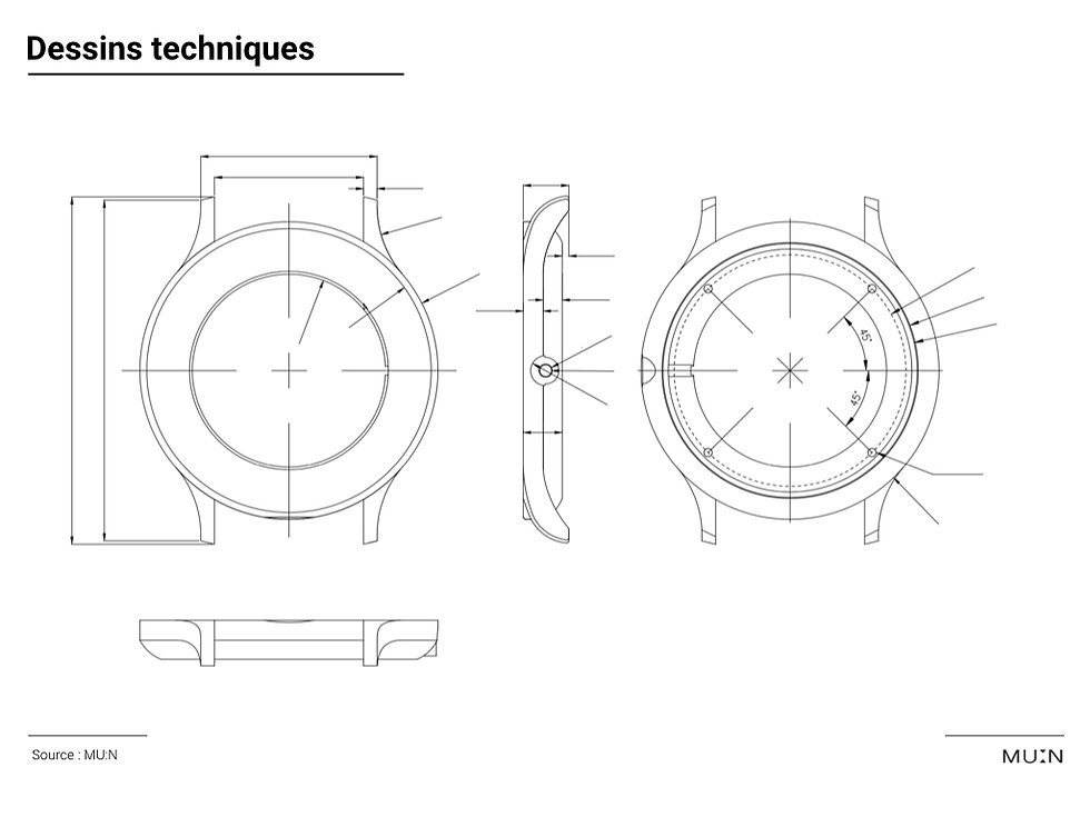 moonphase watch technical drawing case
