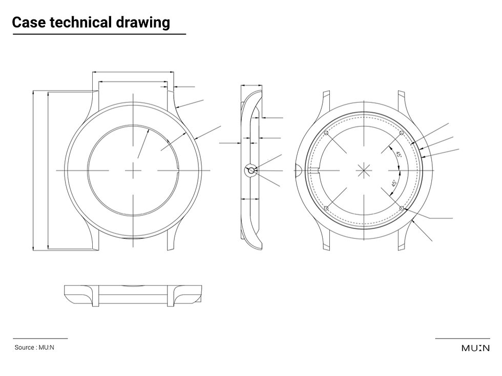 Watch case technical drawing