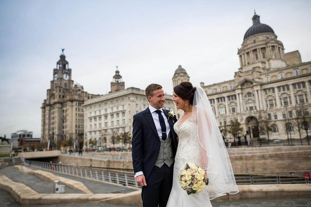 Bride and Groom Mann Island Liverpool Wedding Photography