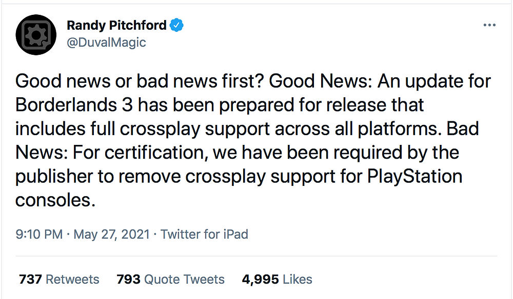 Randy Pitchford tweets on lack of crossplay for PlayStation