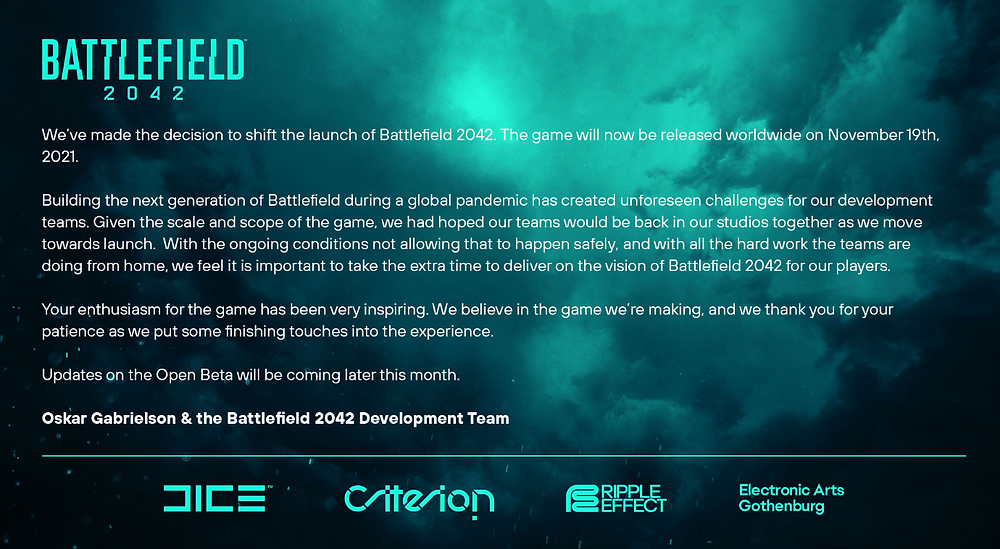 Battlefield 2042 devs explain delay