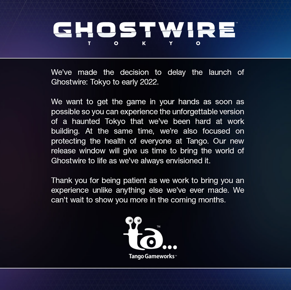Tango Gameworks have announced the delay of Ghostwire: Tokyo