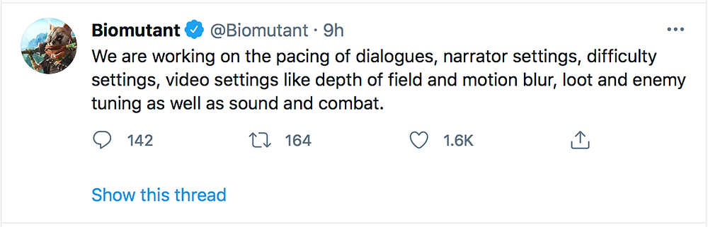 Official twitter account of Biomutant describes upcoming patch
