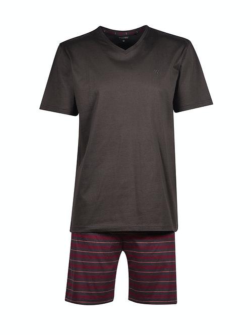 Woody korte pyjamaset gestreepte broek, rood/bruin