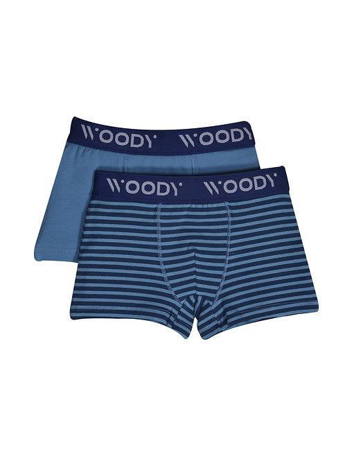 Woody duopack jongens short, blauw effen+gestreept