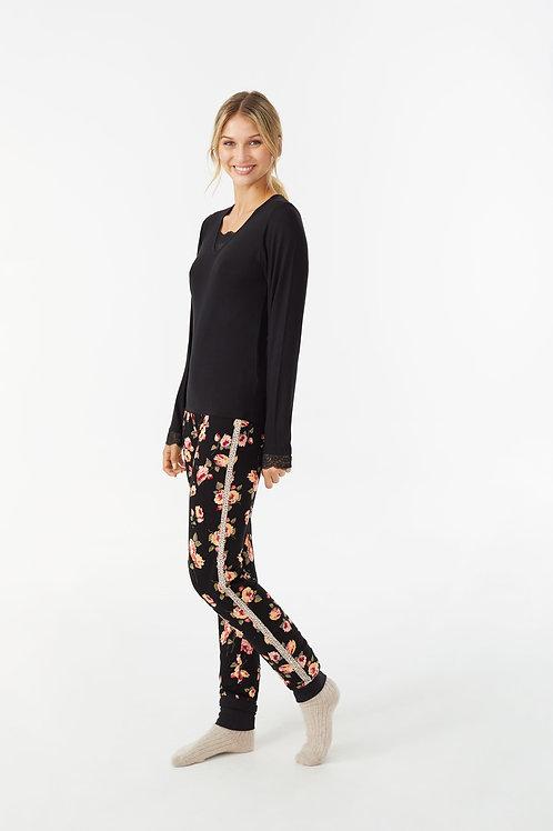 Promise pyjama zwart met bloemen print broek