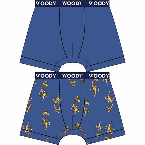 Woody boxershort jongens duopack, blauw giraffe.