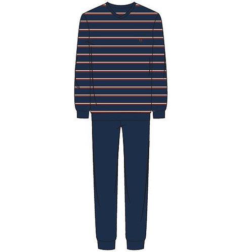 Woody pyjama heren gestreepte longsleeve, effen broek blauw