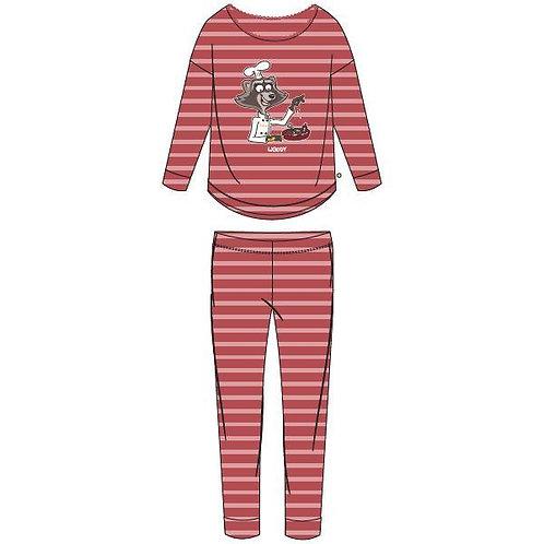 Woody pyjama meisjes/dames wasbeer, gestreept roze