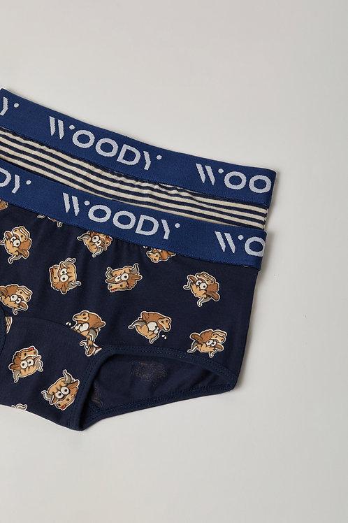 Woody duopack hipster meisjes , gestreep+stier donkerblauw