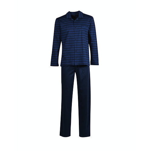 WOODY doorknoop pyjama heren, blauw