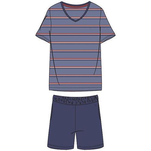 Woody pyjama heren gestreepte t-shirt, blauw/beige