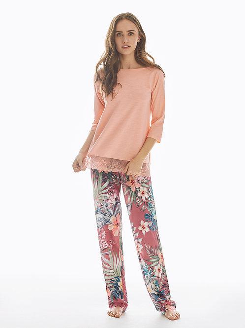 Promise pyjamaset lange broek met bloemen, roze