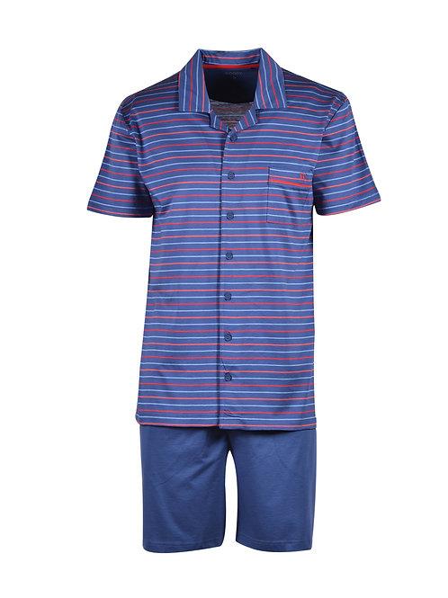 Woody pyjama heren knopen gestreept