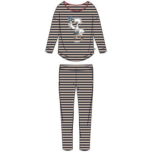 Woody pyjama meisjes/dames kip, gestreept