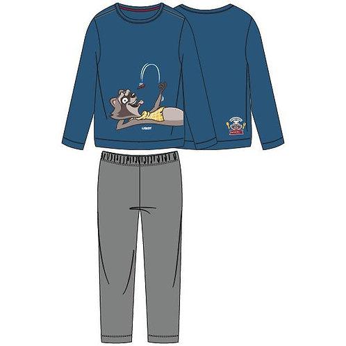 Woody pyjama jongens/heren wasbeer groot, blauw
