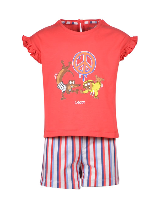 Woody meisjes hond gestreepte broek, rood