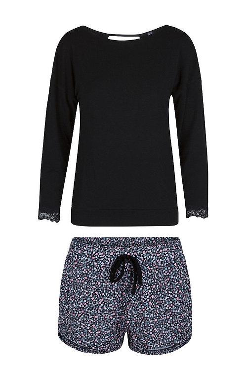 Lingadore pyjamaset black, lange mouw + korte gebloemde broek