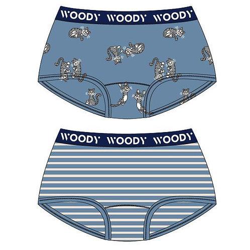 Woody duopack meisjes, blauw gestreept + kat