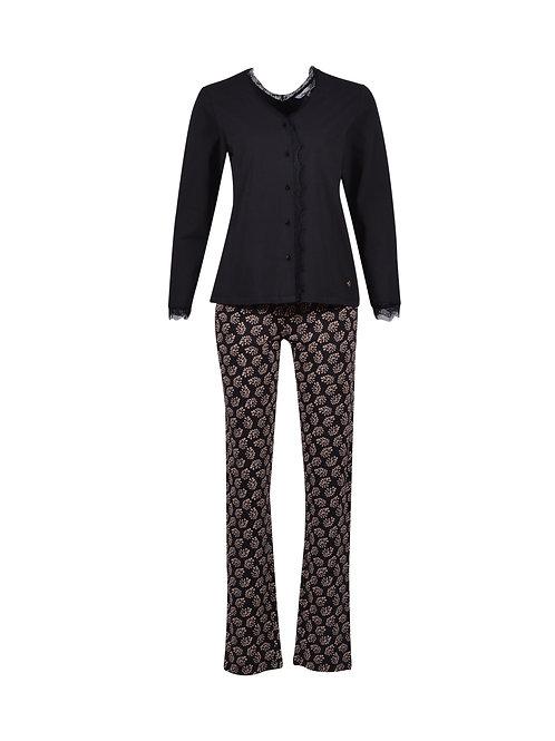 L&L pyjama lange broek zwarte blaadjes