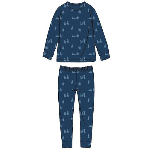 Woody pyjama jongens fleece, all-overprint kat