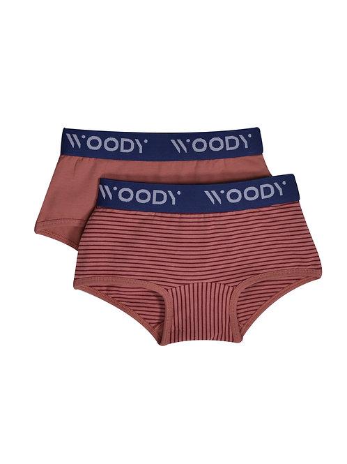 Woody duopack meisjes, blush effen + gestreept