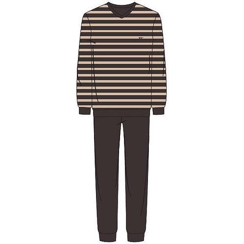 Woody pyjama velours heren gestreepte longsleeve, effen broek