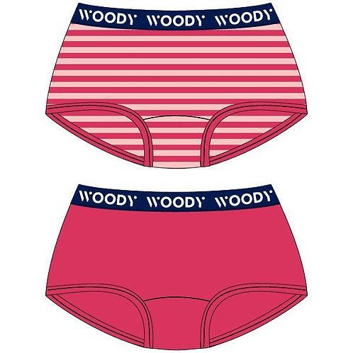 Woody duopack hipster meisjes, effen+gestreept fushia