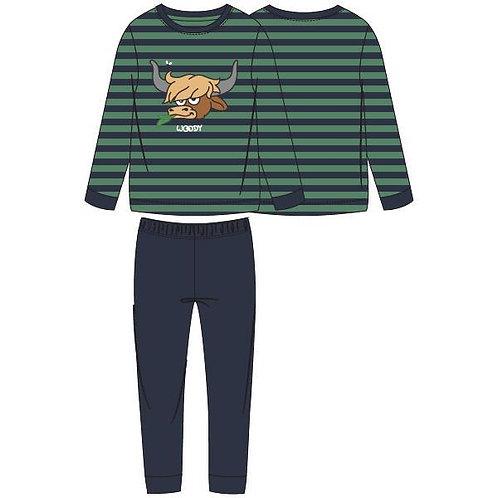 Woody pyjama jongens/heren velours, stier