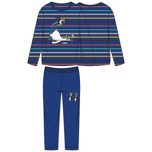 Woody pyjama jongens gestreept ijsbeer, blauw
