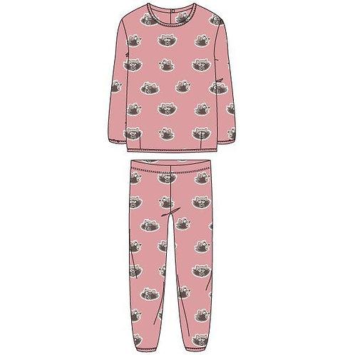 Woody pyjama meisjes velours, all over print wasbeer