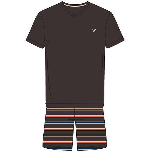 Woody pyjama heren effen t-shirt, gestreepte short bruin